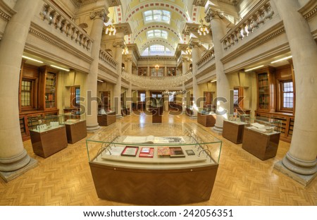 LIVERPOOL, UNITED KINGDOM - JUNE 23: interior of Central Library on June 23, 2014 in Liverpool, United Kingdom. Central Library is a Grade II listed building on the historic William Brown Street. - stock photo