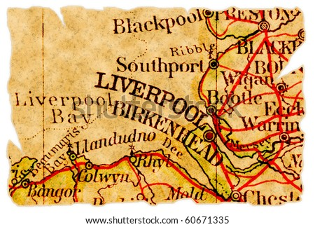 Liverpool, United Kingdom on an old torn map from 1949, isolated. Part of the old map series.