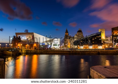 Liverpool Waterfront by Night  - stock photo