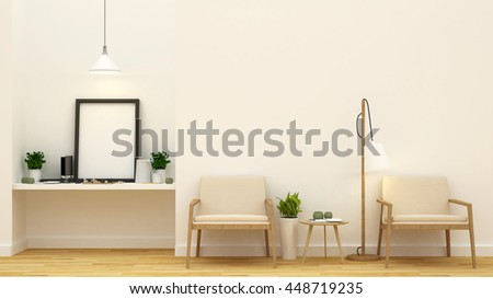 living area and art space - 3D Rendering - stock photo