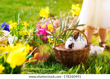 Living Easter bunny with eggs in a basket on a meadow in spring, child in the background - stock photo