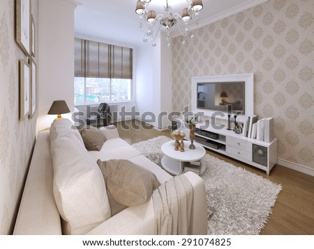 Living in a modern style with elements of Art Deco. Media System and a TV in a white frame on the wall. Beige brown wallpaper patterned with classical style. 3D render. - stock photo