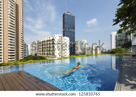 Living in Singapore - stock photo