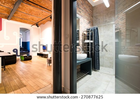 Living room and bathroom in contemporary design - stock photo