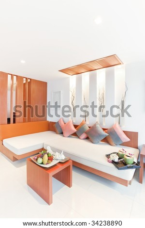 living room and welcome fruit - stock photo