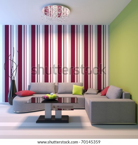 Living room. Angular sofa, dinner-wagon, chandelier, vase. - stock photo