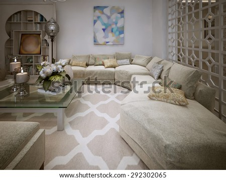 Living Room Arabic Style. 3d Visualization Part 45