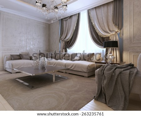 Living room, art deco style, classic style 3D render - stock photo