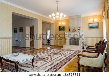 Living room classicism interior with carpet, fireplace