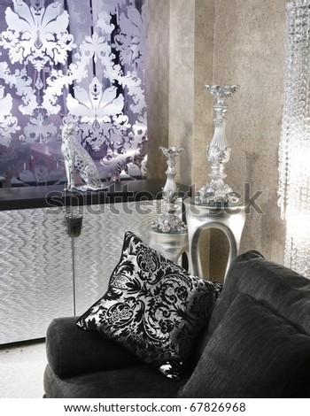 living room coach black sofa silver furniture background - stock photo