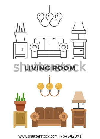 Living room concept - flat and line style living room design. illustration