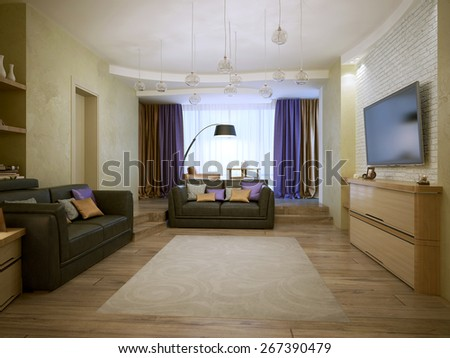 Living room constructivism style, 3d render - stock photo