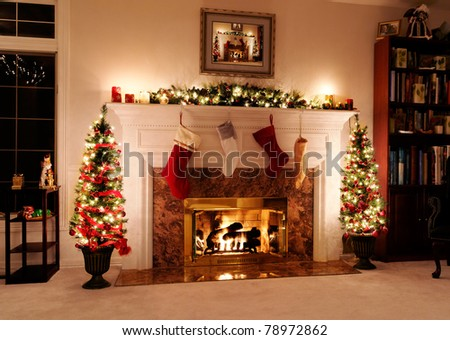 Living room decked out for the Christmas holidays - stock photo