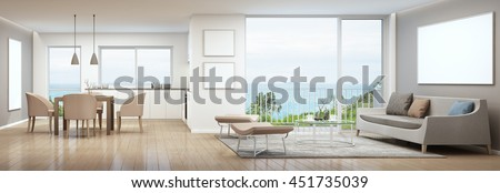 Living room, dining room and kitchen in luxury house with white picture frame- 3D rendering - stock photo