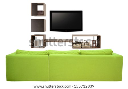 Living room furniture against white background.