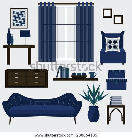 living room furniture and accessories in color navy blue couch chair side table
