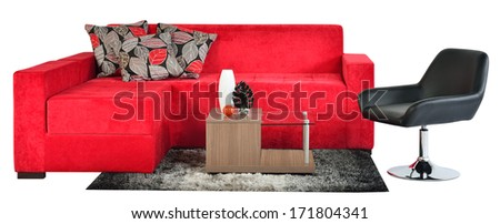 Living room furniture. Couch against white background. - stock photo
