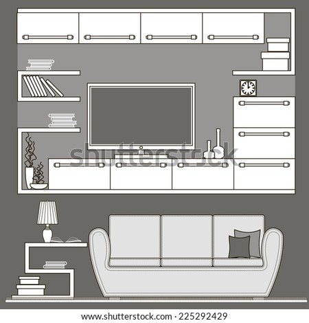 living room furniture icons - stock photo