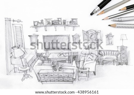 living room graphical sketch with drawing tools