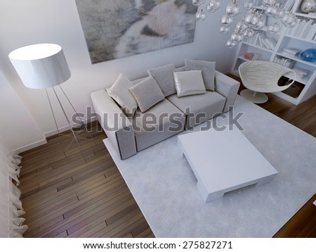 Living room high-tech interior. 3d render - stock photo