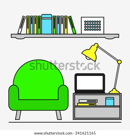 Living room. Home work office and study place. Workplace interior design. Modern furniture: armchair, coffee table and shelf. Laptop, lamp and books. Flat line style illustration. - stock photo