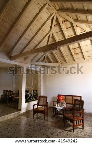 Living room in a Cuban home, Trinidad, Cuba - stock photo