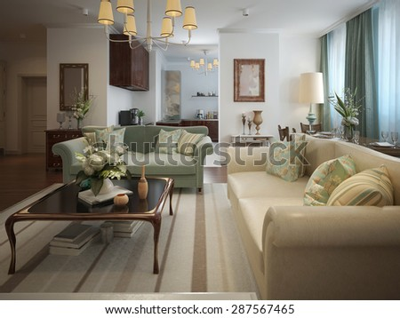 Living room in a neoclassical style with warm colors. In beige, olive and turquoise. 3d render