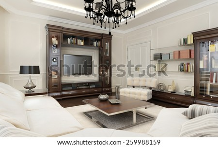 Living Room In Art Deco Style, 3d Images Part 45