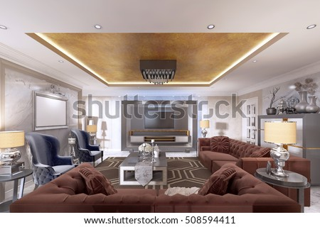 Living Room In Art Deco Style With Upholstered Designer Furniture. With A  Gold Ceiling And Part 82