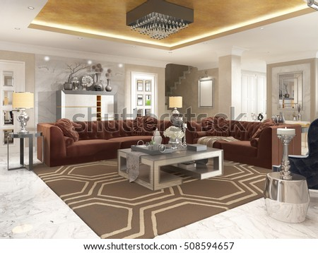 living room art deco style upholstered stock illustration 508594657