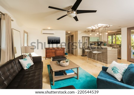 Living Room in Contemporary Modern Home, Interior Design - stock photo