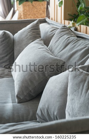 Living room in ecological style closeup of sofa - stock photo