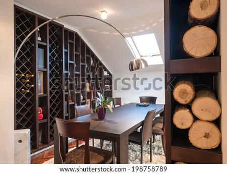 Living room in loft apartment - stock photo