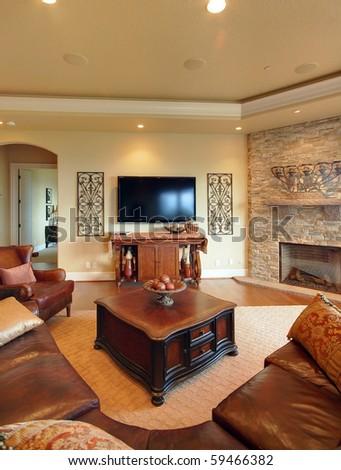 Living Room in Luxury Home - stock photo