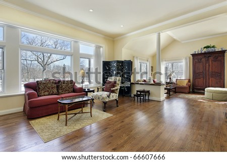 Living room in luxury home with white column - stock photo