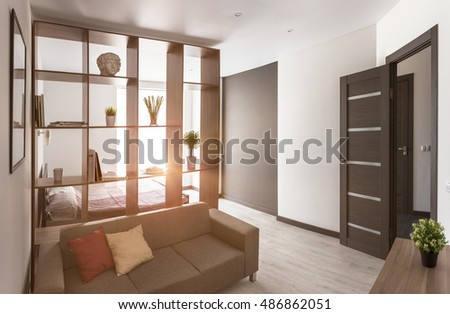 Living room in modern apartment with sun backlight