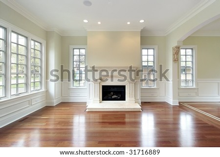 Living room in new construction home - stock photo