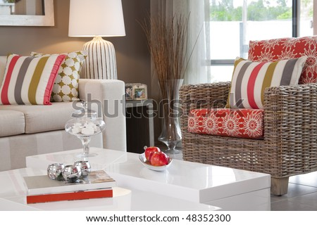 living room in new modern townhouse - stock photo