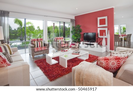 living room in new modern townhouse in Australia - stock photo