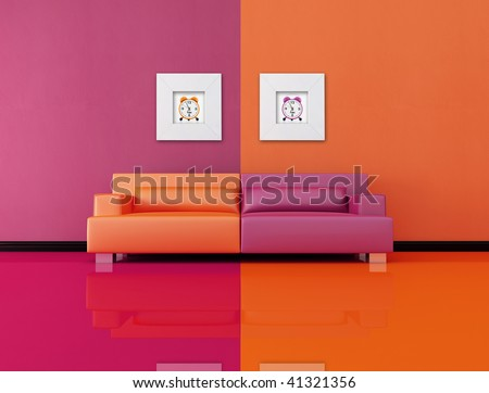 living room in pop art style, the image on wall are my rendering composition - stock photo
