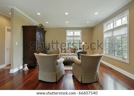 Living room in suburban home with redwood flooring