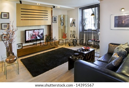 living room in the flat - stock photo