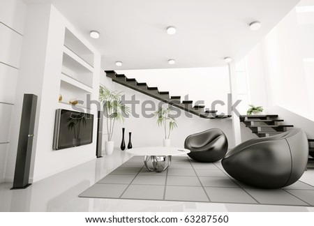 Living room interior black armchairs and lcd 3d render - stock photo