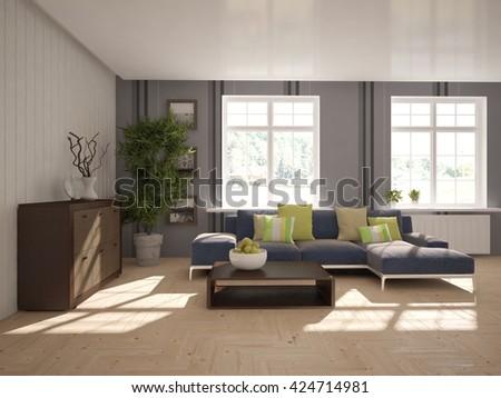 living room interior -3D illustration - stock photo