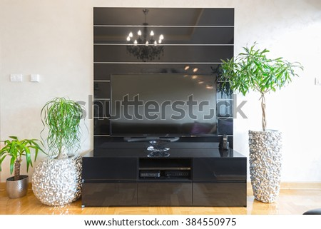 Living room interior design - black tv stand - stock photo