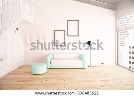 Living room interior design with blue sofa, blank picture frames, shelves and beige walls. 3D Rendering - stock photo
