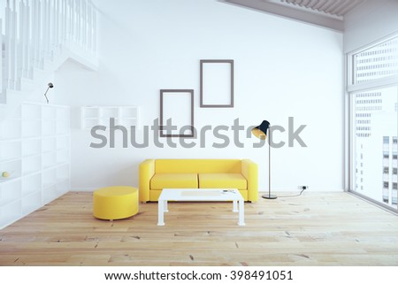 Living room interior design with yellow sofa, blank picture frames, shelves and white walls. 3D Rendering - stock photo
