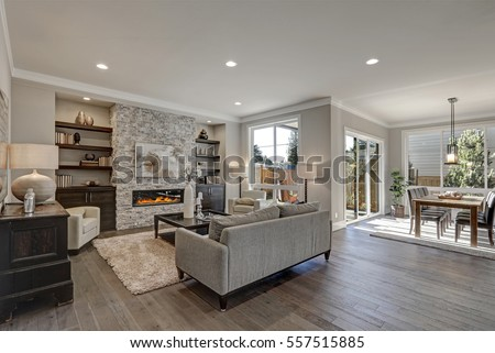 Living Room Interior In Gray And Brown Colors Features Gray Sofa Atop Dark  Hardwood Floors Facing Part 71
