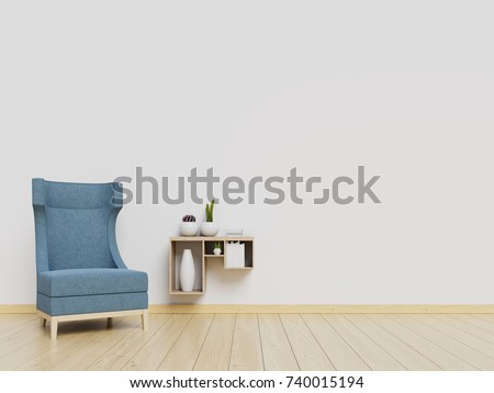 Living Room Interior Wall Mockup With Blue Armchair And White Background 3D Rendering