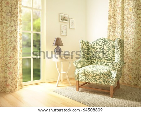 living room interior with a comfortable armchair. 3d render - stock photo